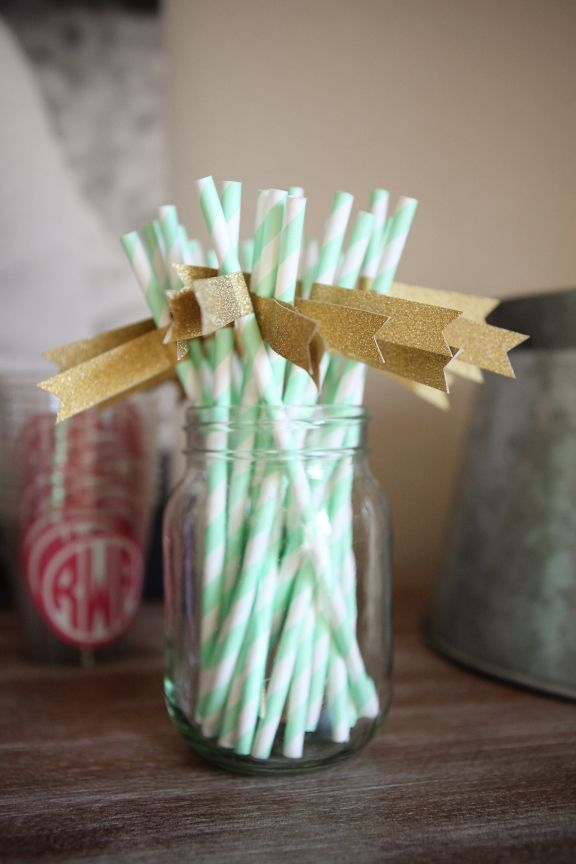 Mint Paper Straws with Gold Glitter Flags
