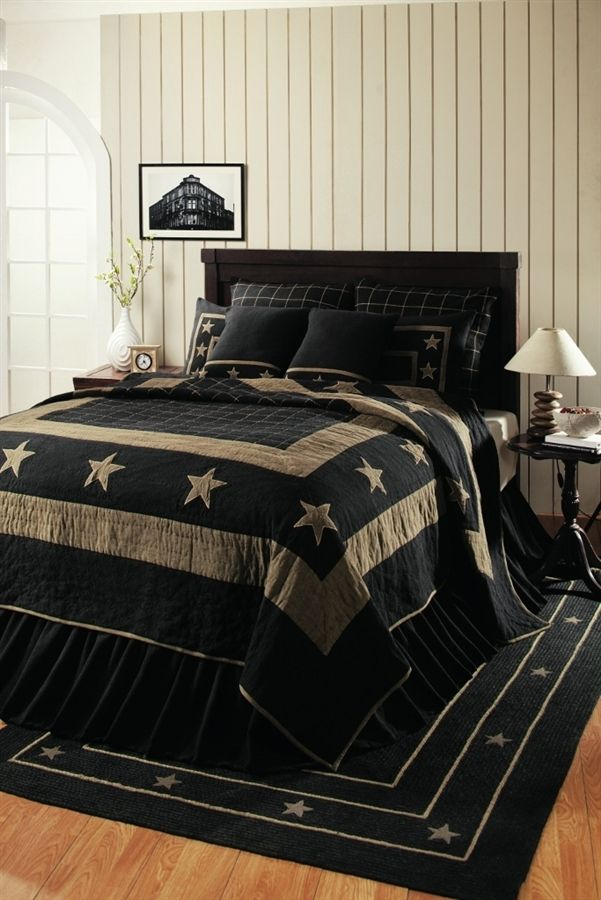 Hurry while supplies last this burlap black star pattern for Black and tan bedroom ideas