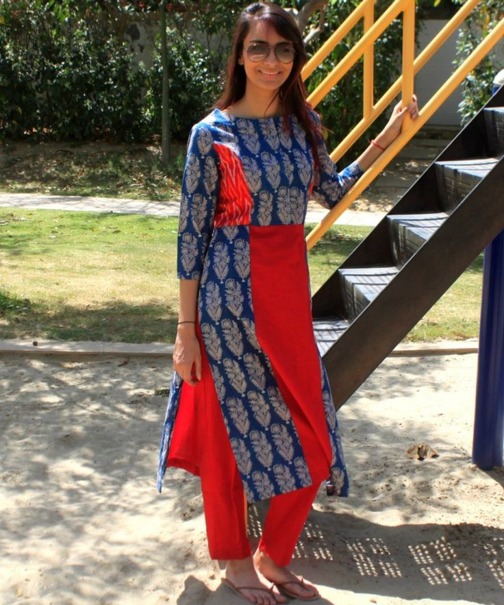 Blue Ajrak & Maroon Ikkat Straight Kurti with Maroon Pants