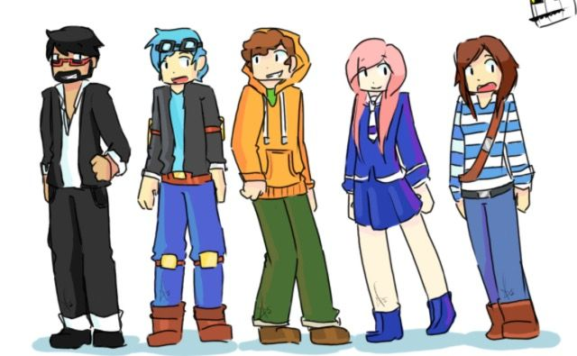 YouTubers in Minecraft Storymode. Human version.