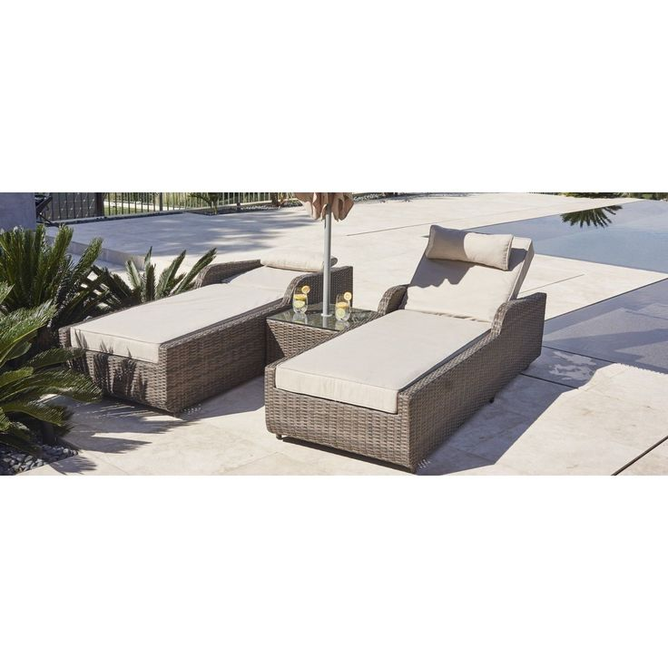 Alisa Outdoor Adjustable Wicker 3-piece Armrest Sun Lounger Set with Side Table (Brown Rattan, Beige Cushion), Patio Furniture (Aluminum)