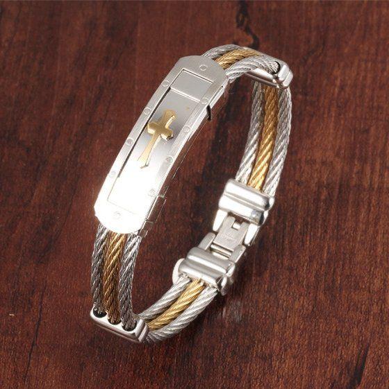 316L Stainless Steel Bracelet Cross Wristband Jewelry Bracelet Gift For Men