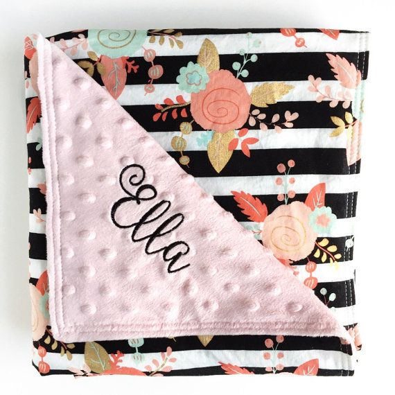 Minky Baby Blanket, Pink Baby Girl Blanket, Minky Crib Blanket, Gold Nursery…