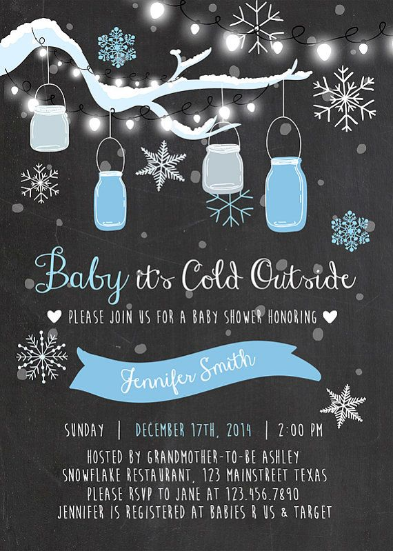 Baby its cold outside Baby Shower invitation by Anietillustration