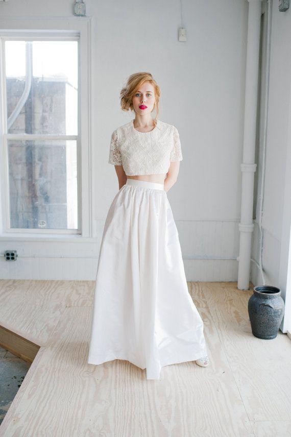 Opal Wedding Dress; Handmade Wedding Dress, beaded cropped top and high waisted luxurious floor length satin skirt