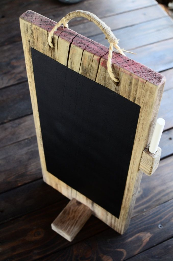 Reclaimed wood chalkboard for table menu / Desk Chalkboard  / Rustic Decoration / Kitchen Chalkboard pad / Cafe Sign. $40.00, via Etsy.