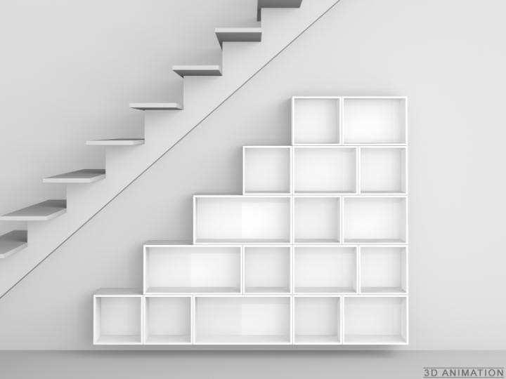 Etagère murale sous-pente escalier Cubit