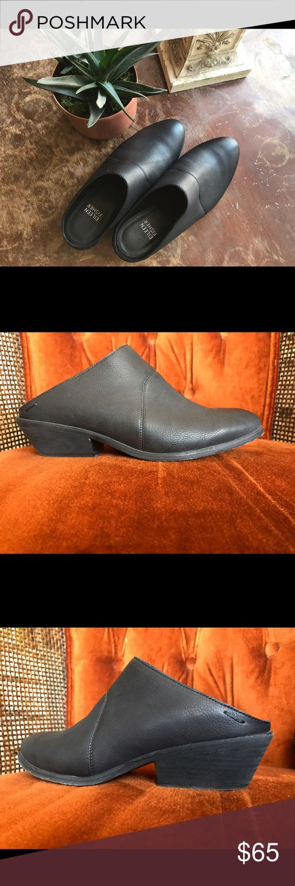 "Eileen Fisher Vachetta Leather Mules Clean, classic lines define an almond toe mule cast in finely grained leather to provide a polished finish for your everyday style. 1.5"" heel. Leather upper, lining, and sole. Excellent used condition! No noticeable signs of wear on the exterior. Trendy and stylish- can be worn with just about anything! Eileen Fisher Shoes Mules & Clogs"