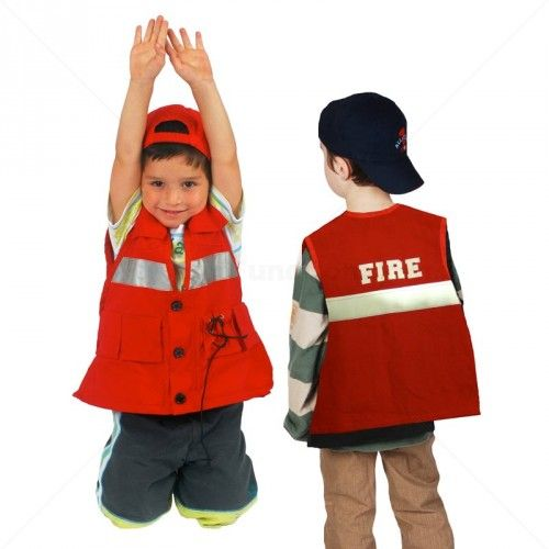 Practice buttoning, lacing, zip and hook skills with this cool dress up fireman costume vest. Add weights to the inside pockets and it works like a weighted vest.
