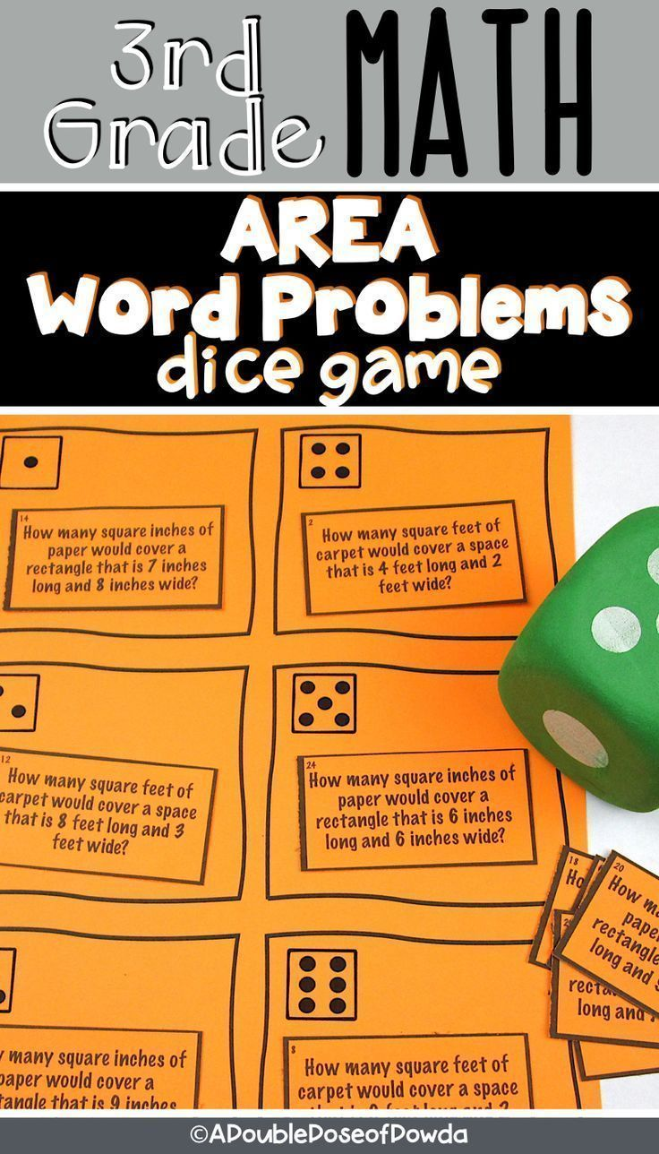 Area Word Problems Dice Game Let Students Practice Solving Area Of Rectangles Word Problems With This Word Problems Word Problem Games Elementary Math Centers