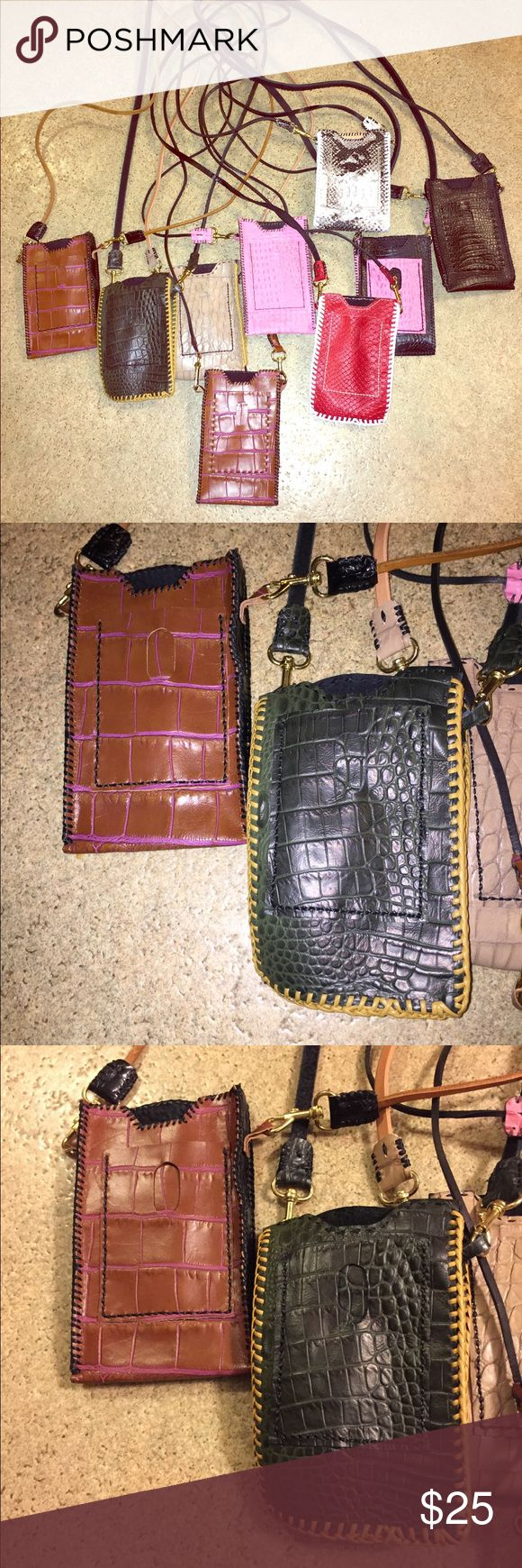 Cell phone carrier Prison-made genuine leather cell phone carrier. Big enough to hold iPhone 6 and bigger. Has front pocket for i.d., cash, credit card.   Only have in stock one of each but can order more.  Comment which one you're wanting today! Bags