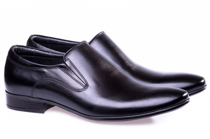 Black leather men shoes!
