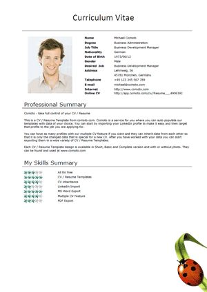 free cv template basic with a ladybug - Best Free Resume Template