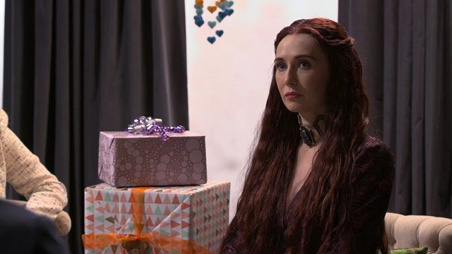Watch Game of Thrones' Melisandre Ruin Seth Meyers' Baby Shower