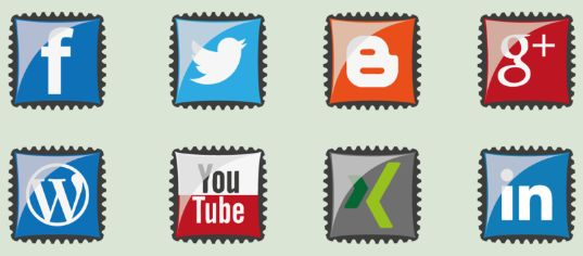 These free social media icons look like glossy postage stamps, and the set offers 8 icons for WordPress, Google+, Blogger, Twitter, and more.