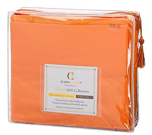 Ready for bedroom  photos. Bed Sheet Set, Twin Size – Orange By Clara Clark, 3 Piece Bed Sheets 100% Soft Brushed Microfiber, With Deep Pocket Fitted Sheet, 1800 Luxury Bedding Collection, Hypoallergenic, - http://aluxurybed.com/product/bed-sheet-set-twin-size-orange-by-clara-clark-3-piece-bed-sheets-100-soft-brushed-microfiber-with-deep-pocket-fitted-sheet-1800-luxury-bedding-collection-hypoallergenic/