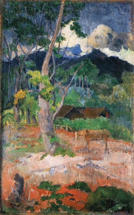 """Eugène Henri """"Paul Gauguin"""" (French: 1848 – 1903) was a leading French Post-Impressionist artist who was not well appreciated until after his death.   Landscape with a Horse - Paul Gauguin, 1899"""