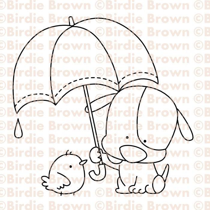 Dibujo de perro, pájaro y paraguas