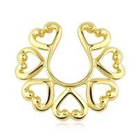 Fake tepelpiercing vintage hart gold plated