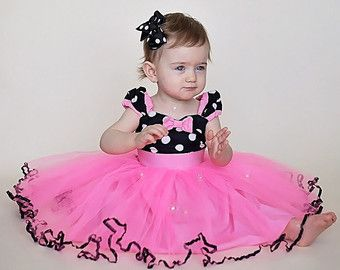 red MINNIE MOUSE dress with TUTU Party by loverdoversclothing