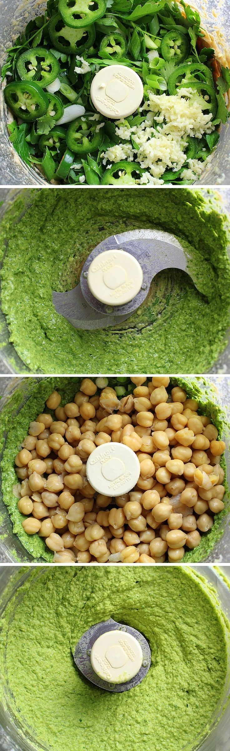 Easy Spicy Green Hummus: w/ chick peas, tahini, jalapeno, lemon juice, olive oil, garlic, cilantro, and parsley.  http://tasteandsee.com