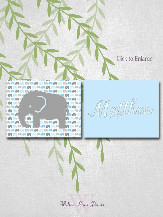 Boys Elephant Nursery Art, Baby Name Prints, Personalized Blue and Gray Nursery Decor, Choose Custom Colors.