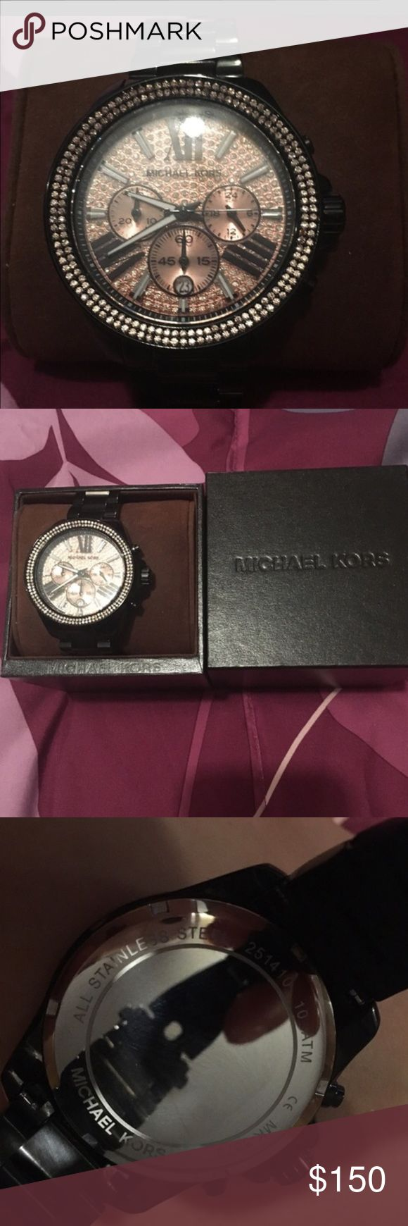 New Michael kors watch beautiful super nice New Michael kors watch with the box all the links in there I got it last years never used it just need new battery still has the plastic no trades pls just selling Michael Kors Accessories Watches