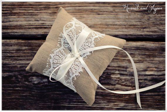 """Sophie - 6x6"""" Wedding ring pillow - Wedding ring bearer - Ring pillow bearer - Burlap ring pillow"""