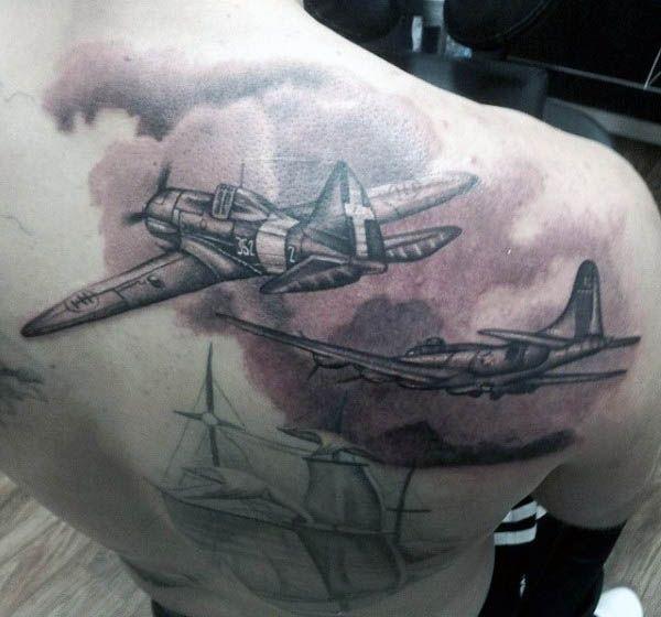 Men's Airplane Tattoos On Back Shoulder