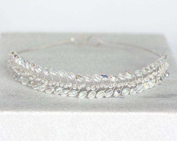 White crystal tiara, Wedding crown, Silver tiara, White crown, Crystal hair accessories, Crystal tiara for bride, Silver wedding crown.  ✓ Color on the first photo – wire #2 - Light silver, Crystals - White AB_1068.  ✓ Size - adjustable with included matching color ribbon. Approximate width -