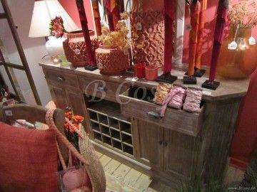 J-Line Cottage buffetkast-dressoir met wijnrek white wash verouderd hout 185