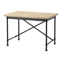 IKEA - KULLABERG, Desk, , We want KULLABERG table tops to have a natural and lively look. So we decided to leave knots and other marks in the surface which makes your table top unique.The desk can be used simply as a desk or a dining table depending on whether you mount the cross at the underframe edge or in the middle.The table top has pre-drilled holes for the underframe which makes assembly easy.