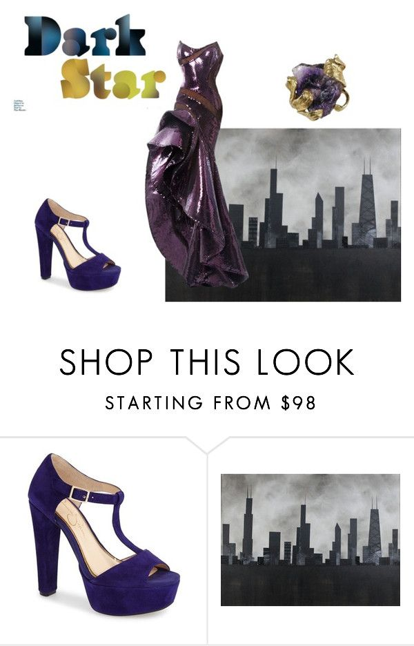 """""""Dark Star"""" by clararucula ❤ liked on Polyvore featuring Jessica Simpson, Robert and Michelle Casarietti and Nicolas Jebran"""