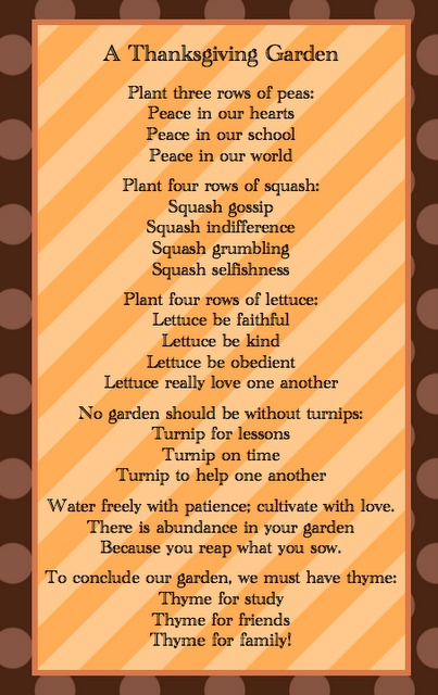 Thanksgiving poem from Sunny Days...