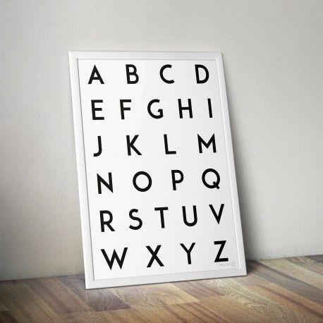 Free printable! Alphabet poster black on white A3 | Verkstad42