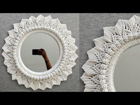 Macrame Mirror, Macrame Plant Hangers, Macrame Art, Macrame Projects, Diy Mirror, Weaving Loom Diy, Macrame Chairs, Diy Crafts For Home Decor, Diy Projects To Sell