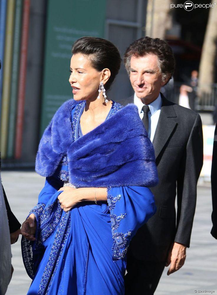 """La princesse Lalla Meryem du Maroc et Jack Lang - Inauguration de l'exposition """"Le Maroc contemporain"""" à l'Institut du monde arabe à Paris, le 14 octobre 2014."""