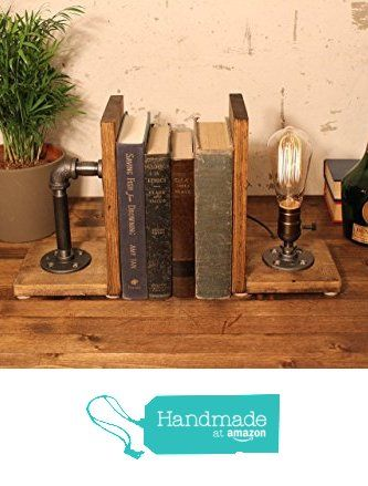 Industrial Steampunk bookend table pipe lamp with Classic Edison bulb and oak wood base from Urban Industrial Craft https://www.amazon.com/dp/B01AN1NS9A/ref=hnd_sw_r_pi_dp_6vx7xbHKMECZV #handmadeatamazon