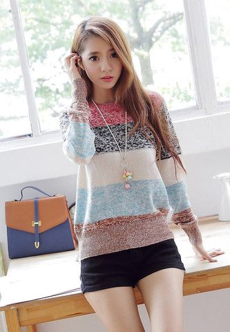 Round Neck Long Sleeves Acrylic Refreshing Style Sweater – teeteecee - fashion in style