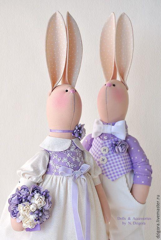 Купить Love Story в сиреневых тонах - зайцы, кролики, игрушка заяц, свадебные зайцы