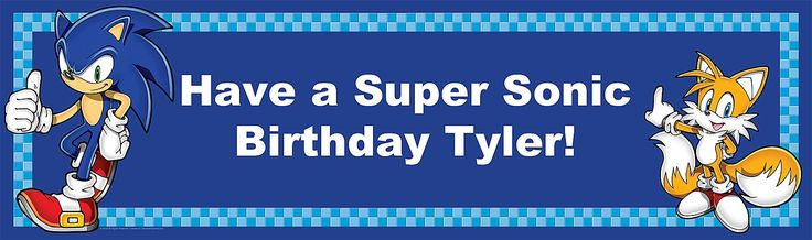 Sonic the Hedgehog Personalized Birthday Banner