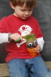The boy asked if we could make some more grass heads today. We can't wait for Spring and more of these activities!