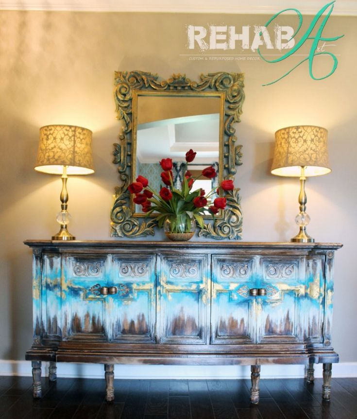 Abstract Gold Leaf Credenza | General Finishes Design Center