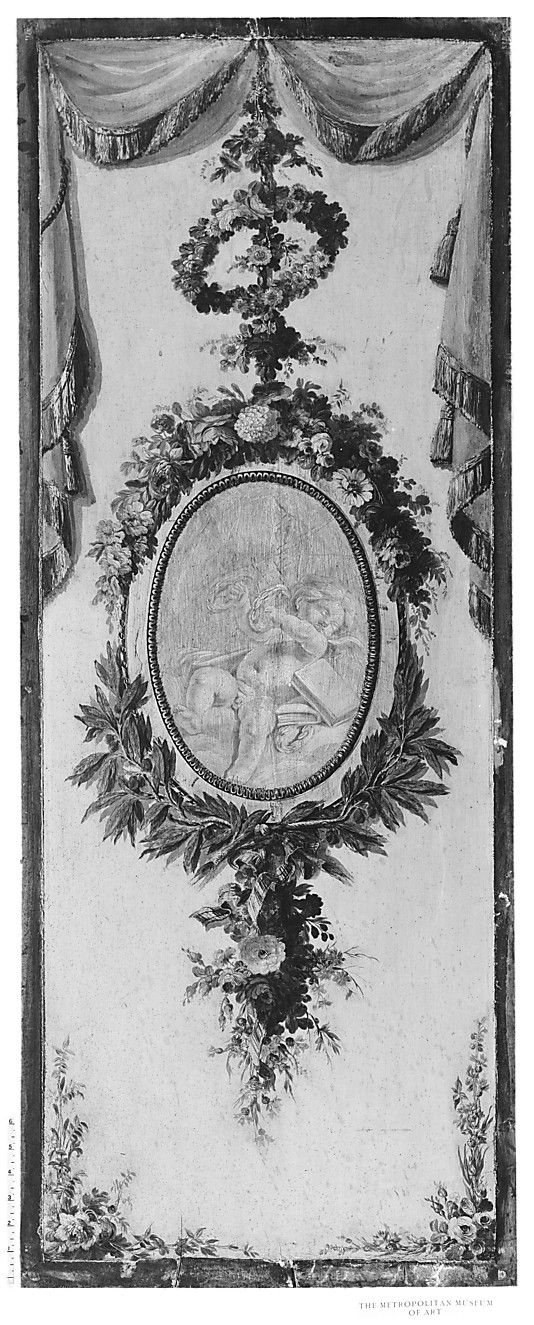 Putto in a medallion surrounded by a garland