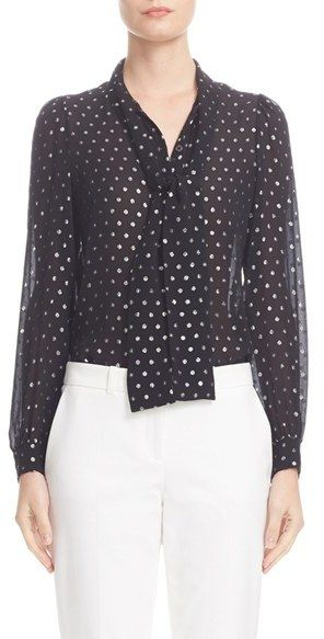 Women's Michael Kors Silk Tie Neck Shirt   A peppering of polka dots-a classic motif in Michael Kors' resort collection-sparkles and shines on this breezy Italian-silk shirt topped with a playful bow tie for a touch of vintage flair.