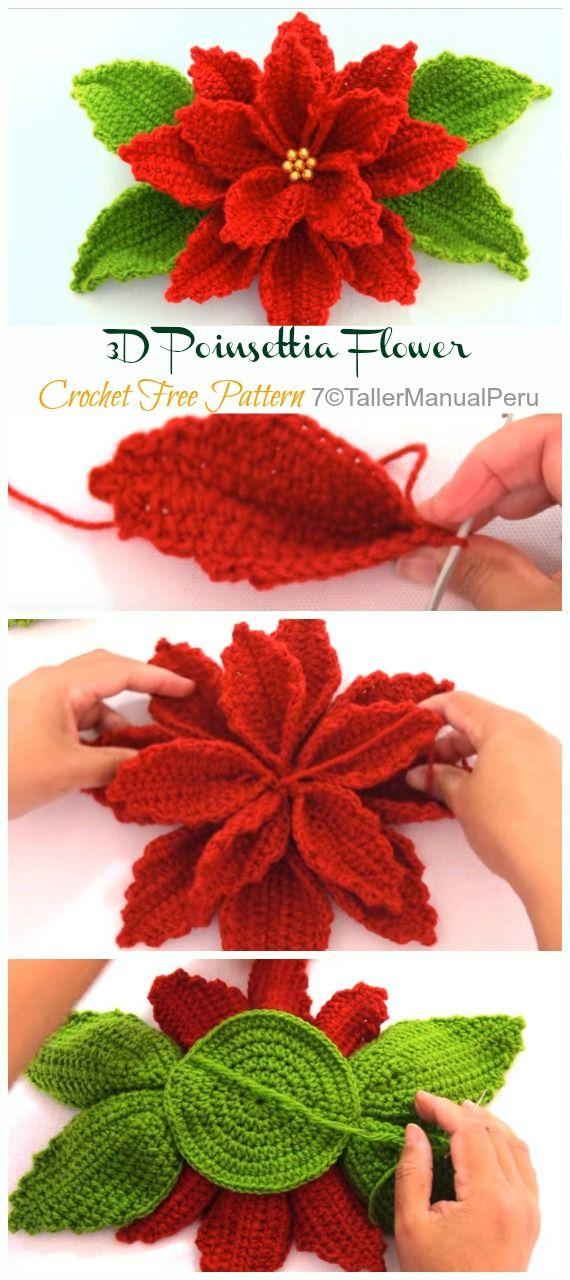 3d Poinsettia Flower Crochet Free Patterns Video Crochet Poinsettia Christmas Flower Free Crochet Flower Patterns Christmas Crochet Patterns Crochet Xmas