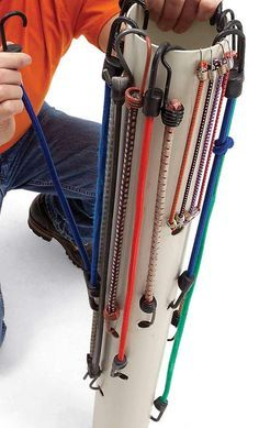 Cord Organizer: Elastic cords can quickly become a tangled mess. Find the one you need at a glance with this handy rack made from 3- or 4-in. PVC pipe. http://www.familyhandyman.comstorage-organization/instant-storage-solutions