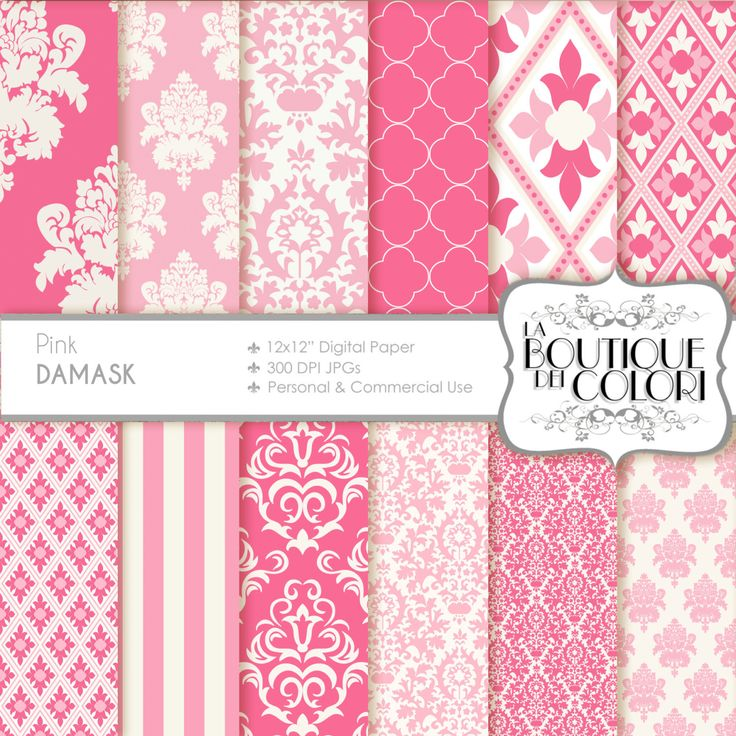 80 OFF Cute pink damask digital paper. Pink by LaBoutiqueDeiColori