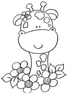 carita de jirafa con flores. dibujo
