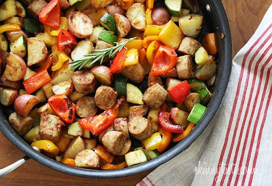 Summer Vegetables with Sausage and Potatoes | Skinnytaste - I used ground sausage, and this was yummy.
